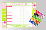 Inspirational Chore Chart, Pink and Green  -