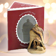 Nativity Diorama Bell Olive Wood Ornament, Boxed   -