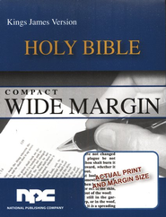 KJV Compact Wide Margin Bible, Imitation Leather Black  -