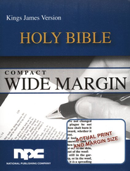 KJV Compact Wide Margin Bible, Imitation Leather Burgundy  -