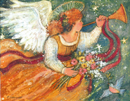 Trumpeting Angel Christmas Cards, Deluxe Box of 18  -     By: Susan Winget