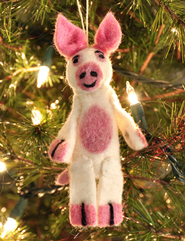 Felt Ornament Finger Puppet, Pig, Fair Trade Product  -