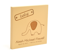 Personalized, Brown Square Plaque, Baby   -