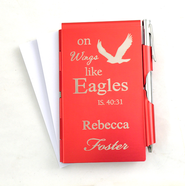 Personalized, Eagle's Wings Memo Holder With Pen, Red  -
