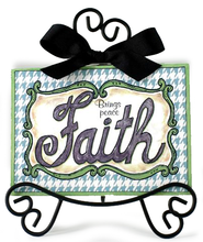 Faith Brings Peace Plaque With Easel, Green  -