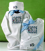 God Saw All He Made Newborn Gown, Blue  -