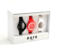 Euro Watch Set, Black, Red, White, Large  -