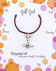 Golf Necklace, Philippians 4:13  -