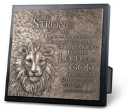 Be Strong and Courageous Lion Sculpture Plaque  -