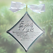 Silent Night Christmas Carol Silver Ornament  -
