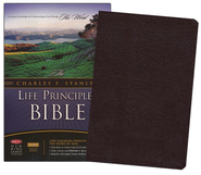 NKJV Charles Stanley Life Principles Bible, Bonded leather, burgundy--indexed  -