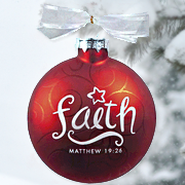 Swirl Glass Ornament, Faith  -
