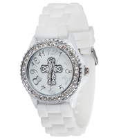 Silicone Watch with Cross, White, Medium  -