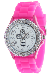 Silicone Watch with Cross, Pink, Medium  -