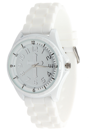 Silicone Watch with Cross, White, Large  -