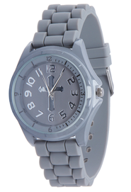Silicone Watch with Cross, Gray, Large  -