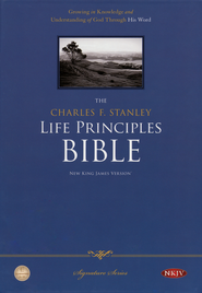 NKJV Charles Stanley Life Principles Bible, Bonded leather, black  -