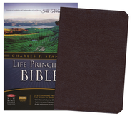 NKJV Charles Stanley Life Principles Bible, Bonded leather, burgundy  -