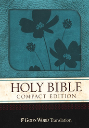 GOD'S WORD Compact Bible, Duravella, Turquoise/Brown Flower Design  -