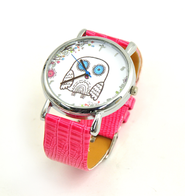 Owl Watch with Cross, Pink Silicone  -
