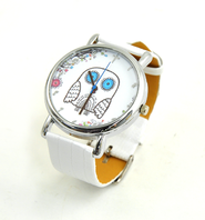 Owl Watch with Cross, White Silicone  -