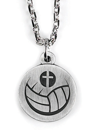 Volleyball and Cross Necklace  -