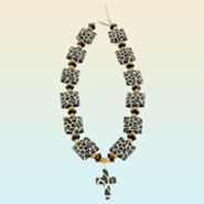 Giraffe Print Necklace with Cross  -