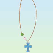 Clay Cross Necklace with Colored Beads, Blue  -