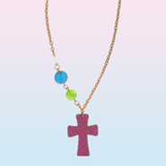 Clay Cross Necklace with Colored Beads, Pink  -