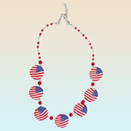 American Flag Clay Necklace  -
