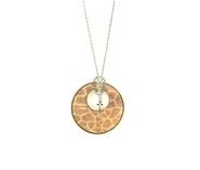 Circle Pendant with Cross, Giraffe Print  -
