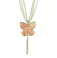 Butterfly Pendant with Cross, Giraffe Print  -