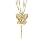 Butterfly Pendant with Cross, Leopard Print  -