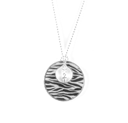 Circle Pendant with Cross, Zebra Print  -