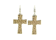 Cross Earrings, Leopard Print  -