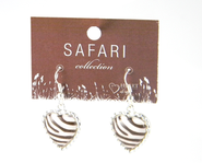 Zebra Heart Earrings  -