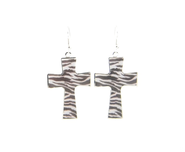 Cross Earrings, Zebra Print  -