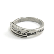 Pewter Pure Love Waits Wrap Ring, Size 6  -