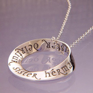 Sister in Eight Languages Mobius Pendant  -
