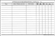 Attendance Registration Pad (Package of 10)  -