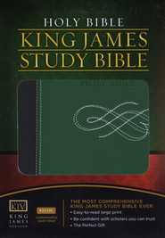 The King James Study Bible - LeatherSoft/Black/Green  -