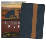 NASB Charles F. Stanley Life Principles Bible - Bonded Leather Navy Blue  -              By: Charles F. Stanley