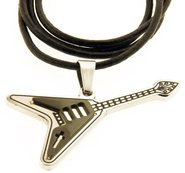 Guitar Necklace, Cross, Black  -