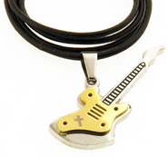 Guitar Necklace, Cross, Gold  -