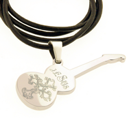 Guitar Necklace, Jesus, Silver  -