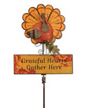 Grateful Hearts Gather Here, Turkey Garden Stake  -