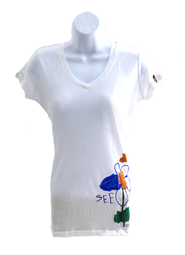Maria's Flower Shirt, White, Junior Medium   -     By: MaryBeth Chapman