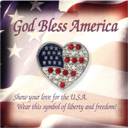 Jeweled American Flag Heart Lapel Pin  -