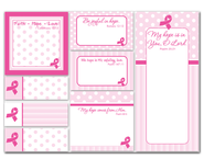 Pink Ribbon Sticky Notes  -