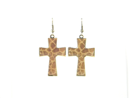 Cross Earrings, Giraffe Print  -